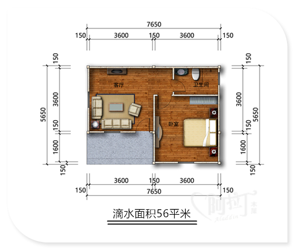 一室一厅小木屋设计图,木屋厂家-阿拉丁木屋